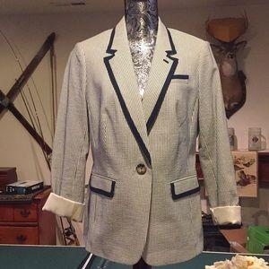 Boden Blue and White Seersucker Jacket Blazer